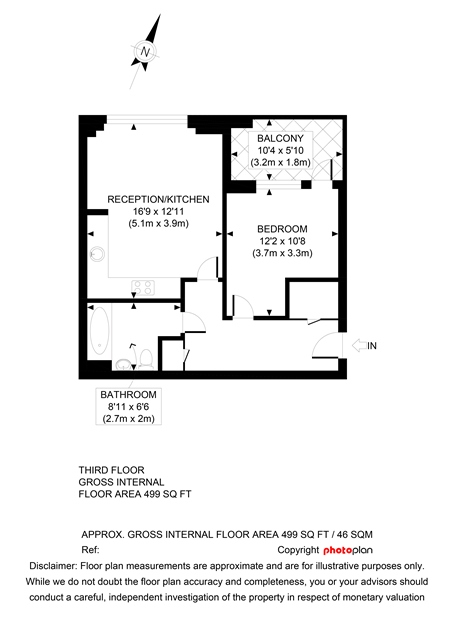 Cyan Apartments One bedroom floorplan