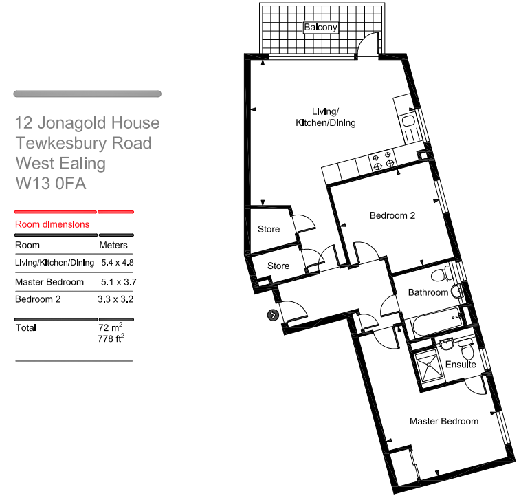 Jonagold House 2 bedrooms floorplan