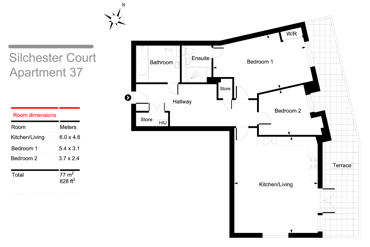 Silchester Apartments Two bedrooms floorplan
